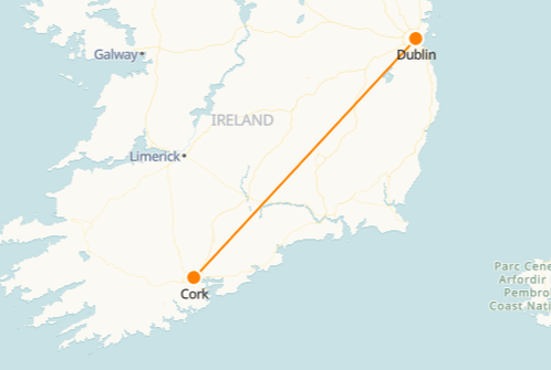 Dublin to Cork Railway Map